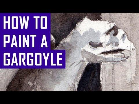 Paint with me! Gargoyle Statue - Notre Dame, Paris (Watercolor Corner #16)