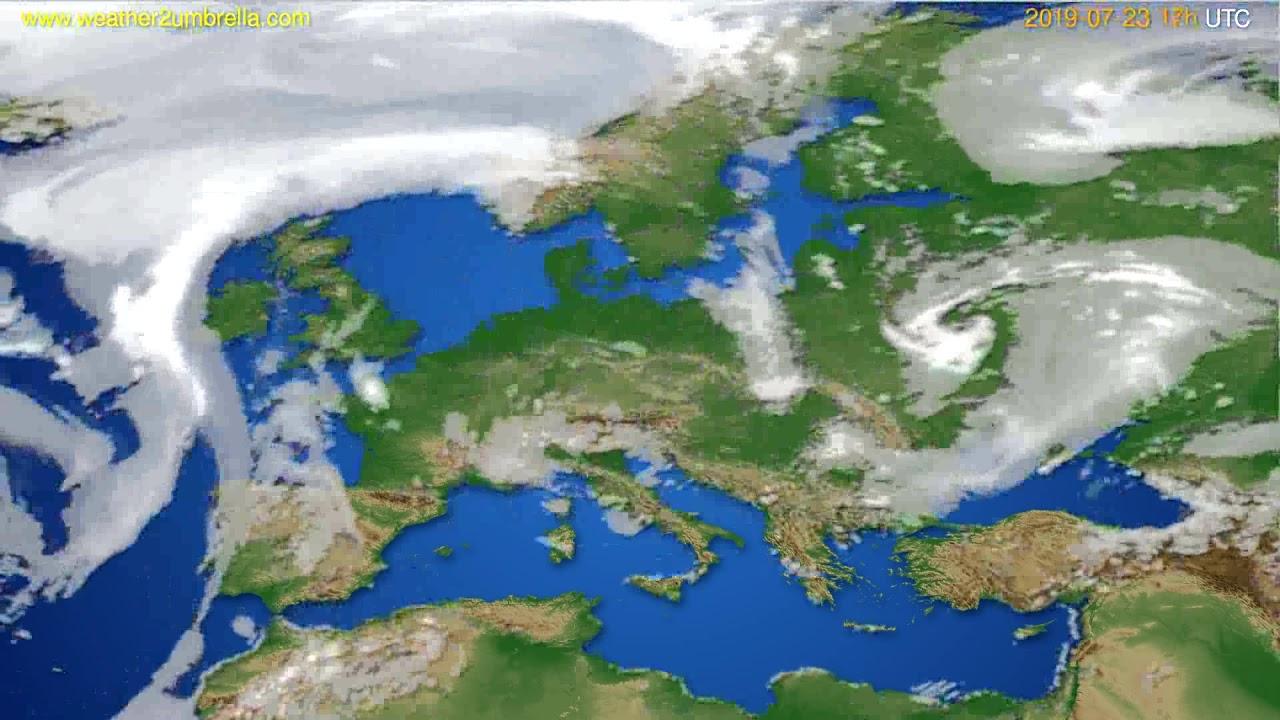 Cloud forecast Europe // modelrun: 00h UTC 2019-07-22