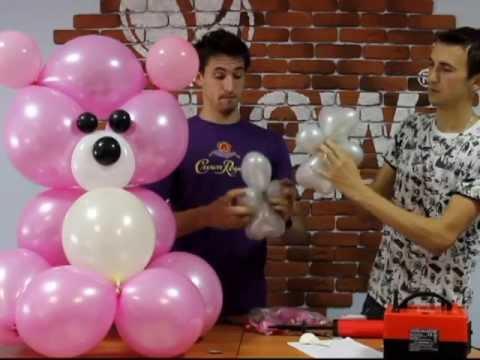 Мишка из воздушных шаров, своими руками (balloons bear)