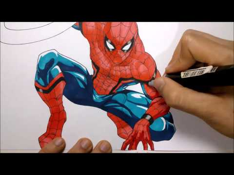 Como Dibujar A SPIDERMAN Civil War Version Manga. How To Draw Spiderman Civil War Manga Version