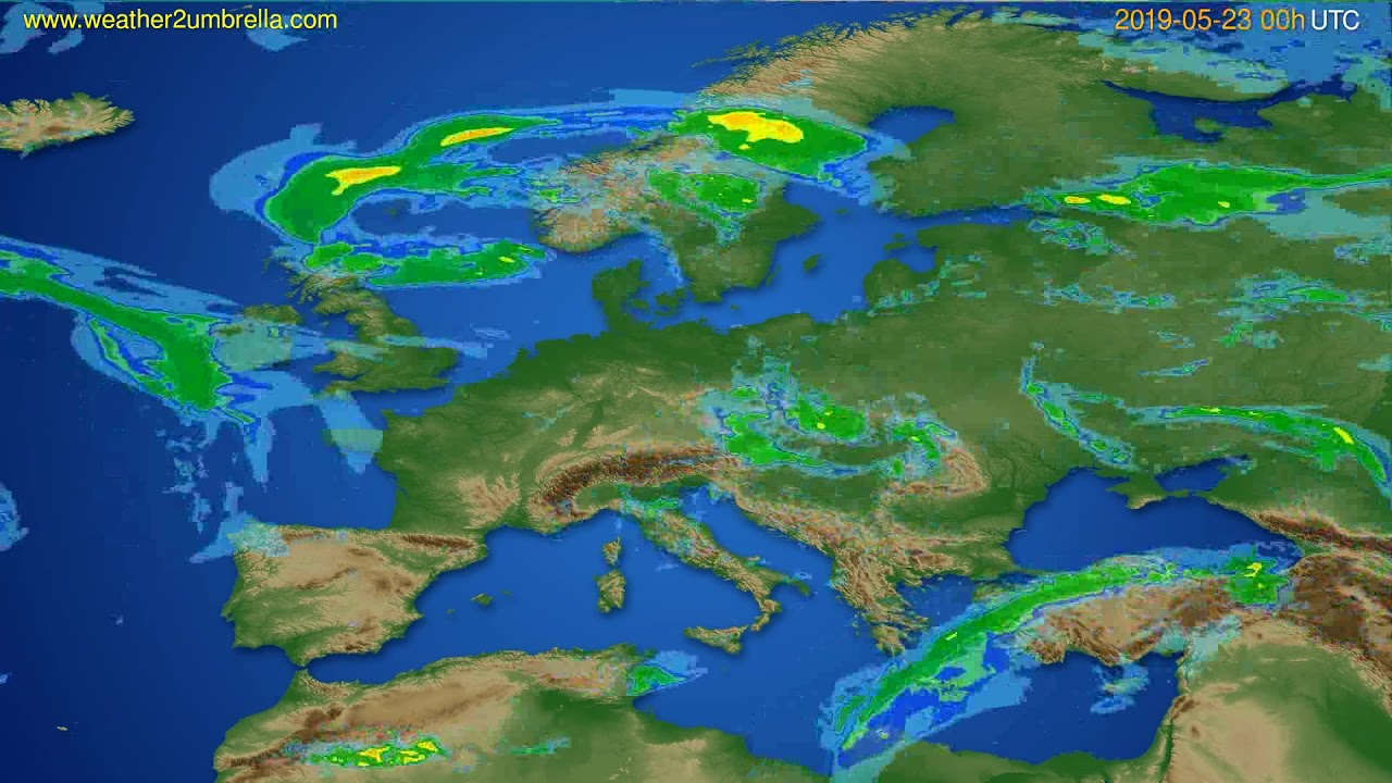 Radar forecast Europe // modelrun: 12h UTC 2019-05-22