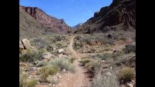 RIBBON FALLS, GRAND CANYON, SOLO TREK FROM PHANTOM RANCH - MARCH 2012