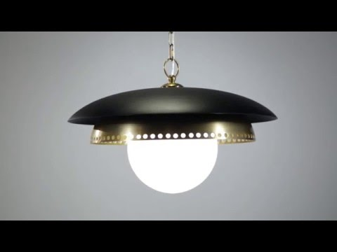 Video for Herkimer Polished Nickel and Black One-Light Pendant