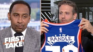 Max Kellerman trolls Stephen A. with Knicks gear | First Take