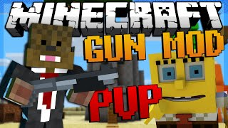 Minecraft SPONGEBOB Gun Mod PVP (Bikini Bottom) Modded Minigame w/ JeromeASF&Friends!