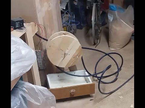 bobina avvolgicavo in legno per compressore-fai da te