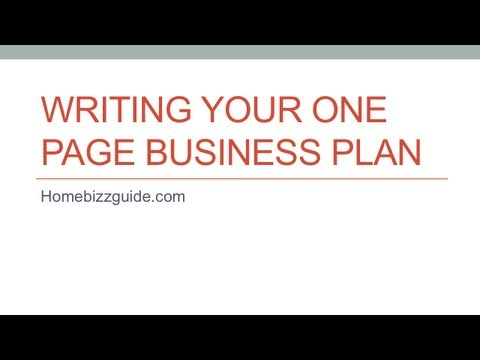 How To Create A One Page Small Business Plan
