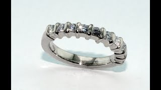 Riviera diamonds ring 18KT white gold handmade with eleven diamonds ct. 0.07  each one.