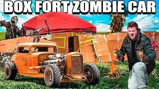 BOX FORT ZOMBIE CAR SURVIVAL CHALLENGE!!  📦🚗 The Walking Dead Box Fort!