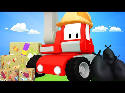 Tiny Trucks - Garbage recycling - Kids Animation with Street Vehicles Bulldozer, Excavator & Crane