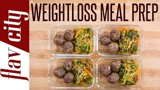 I figured out how to make healthy meal prep for weight loss and still eat spaghetti and meatballs. These recipes for losing weight are low fat, low calories, but huge on flavor. Healthy meal prep is easy with these recipes to lose weight. The meatballs are lean and perfect for tasty weight loss meal prep. Zucchini noodles is a really easy recipe for meal prep, once you toss it with the sauce, it's so tasty. My healthy meal prepping for weight loss will help you eat clean and hit your fitness goals. RECIPE & STORAGE INSTRUCTIONS: https://goo.gl/NJKeZLSUBSCRIBE: http://goo.gl/pWpsoqMacros:397 calories per meal 23.6 grams of fat per meal17.6 grams of carbs per meal34 grams of protein per meal 5.2 grams of fiber per meal GET THE KITCHEN GEAR I USE:spice tins: http://amzn.to/2paO4vXHimalayan pink salt: http://amzn.to/2qxaz2Mzucchini noodle maker: http://amzn.to/2pMjRqY glass meal prep containers: http://amzn.to/2neLNQYget my t-shirt: http://bit.ly/2q5aoMAolive oil dispenser: http://amzn.to/2iTIfULNew Videos Every Friday!Follow Me On Social Media:Facebook: https://www.facebook.com/flavcityInstagram: https://www.instagram.com/flavcitySnapchat: flavcityTwitter: https://www.twitter.com/flavcityI'm out to prove that home cooks can be rock stars in the kitchen. I look forward to sharing my recipes & cooking style with you on my channel!Music from Audio Network