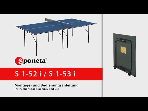 Sponeta Hobbyline Indoor Table Tennis Table - Instructions for assembly and use