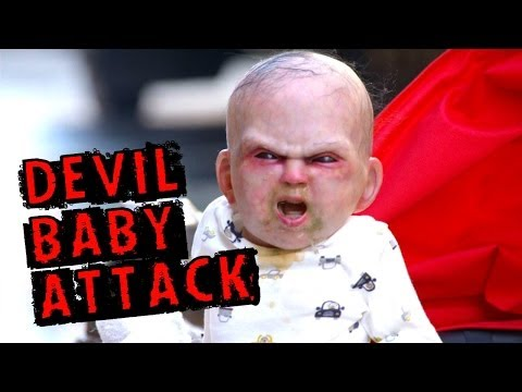The best prank to advertise a possessed baby movie you'll see all day!!