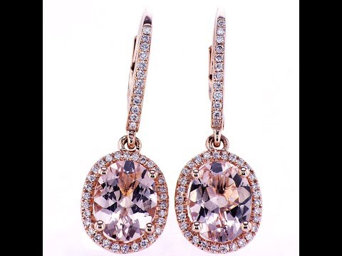 3.42 CT Diamond and Morganite Earrings