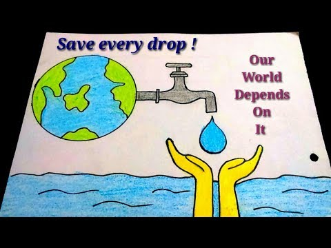 How to draw save water poster drawing for kidseasy save water color drawing