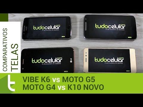 Lenovo Vibe K6, Moto G5, Moto G4 e K10 Novo  Comparativo de telas do TudoCelular