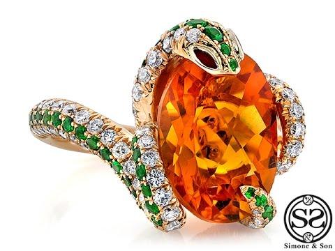 Custom Citrine and Diamond Snake Ring