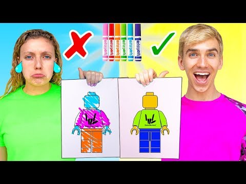 3 Marker Challenge Sis Vs Bro!! (learn How To Draw Lego, Pokemon, Train Your Dragon)