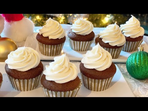 How To Make Gingerbread Cupcakes w/ Marshmallow Buttercream Frosting!   MANCAKE