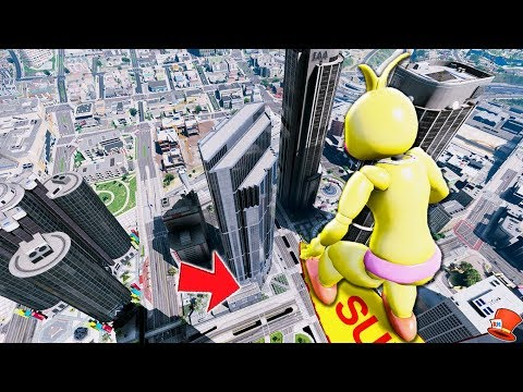 Tell Toy Chica to NOT JUMP off the Tallest SKYSCRAPER! (GTA 5 Mods FNAF RedHatter)