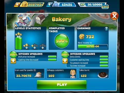 Cooking Fever-Bakery Level 1-40(3 Stars)