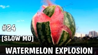 This video is the first test of my new high speed camera, so it is watermelon explosion in slow motion! I used my handmade detonator for this video, so there was some charge inside the watermelon, and the fuse of nichrome wire, that ignited the charge. Explosion in Slow motion is about 1000 fps, it is not so much, but enough for fun!Now i am creating some slow-mo capturing system for my camera, it will be remote-controlled and can start recording by my signal from the remote controller, or by the sound signal of explosion!P.S. This watermelon was sad and very, very strong! Very thick peel...---------------------------------------------Patreon: https://goo.gl/ksXs2xFacebook: https://www.facebook.com/AlexGyver12