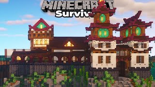 How to build Awesome Castle Walls in Minecraft 1.16 Survival Let's Play