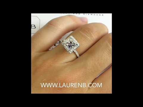6.5 mm Princess Cut Moissanite Halo Engagement Ring
