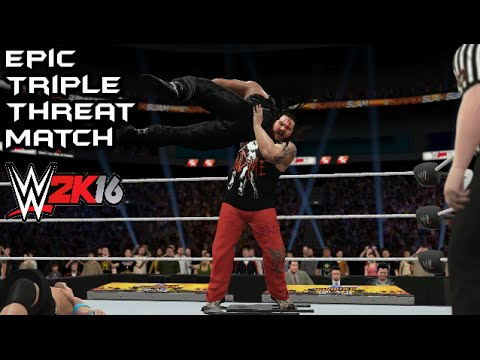 WWE 2K16 John Cena vs Bray Wyatt vs Roman Reigns World Heavyweight Championship (Summer Slam 2016)