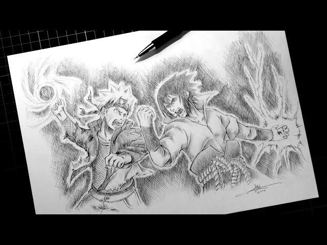 Speed-drawing-naruto-vs-sasuke