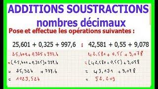 Maths 6ème - Additions et soustractions de nombres décimaux Exercice 5