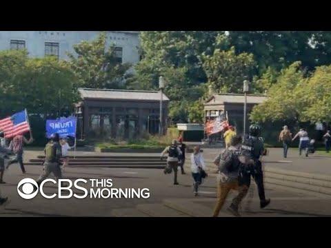 Pro-Trump caravan clashes with Black Lives Matter protesters in Salem, Oregon