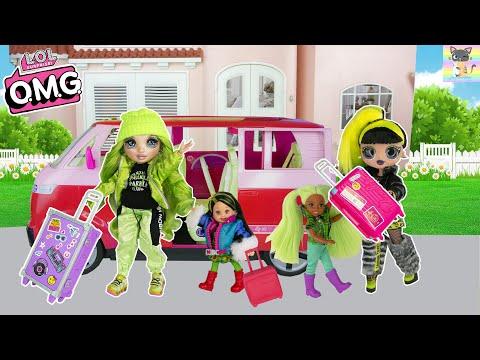 OMG LOL Family & Rainbow High Doll Go Road Trip to Grandma Grandpa House Because Barbie Mom is Sick!