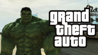 gta 4 hulk in gta  hulk mod funny moments