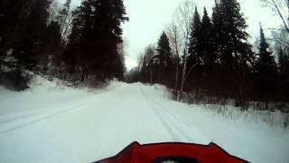 8. Arctic Cat XF1100 Turbo vs Yamaha Apex XTX speeding Canada Snowmobile trail