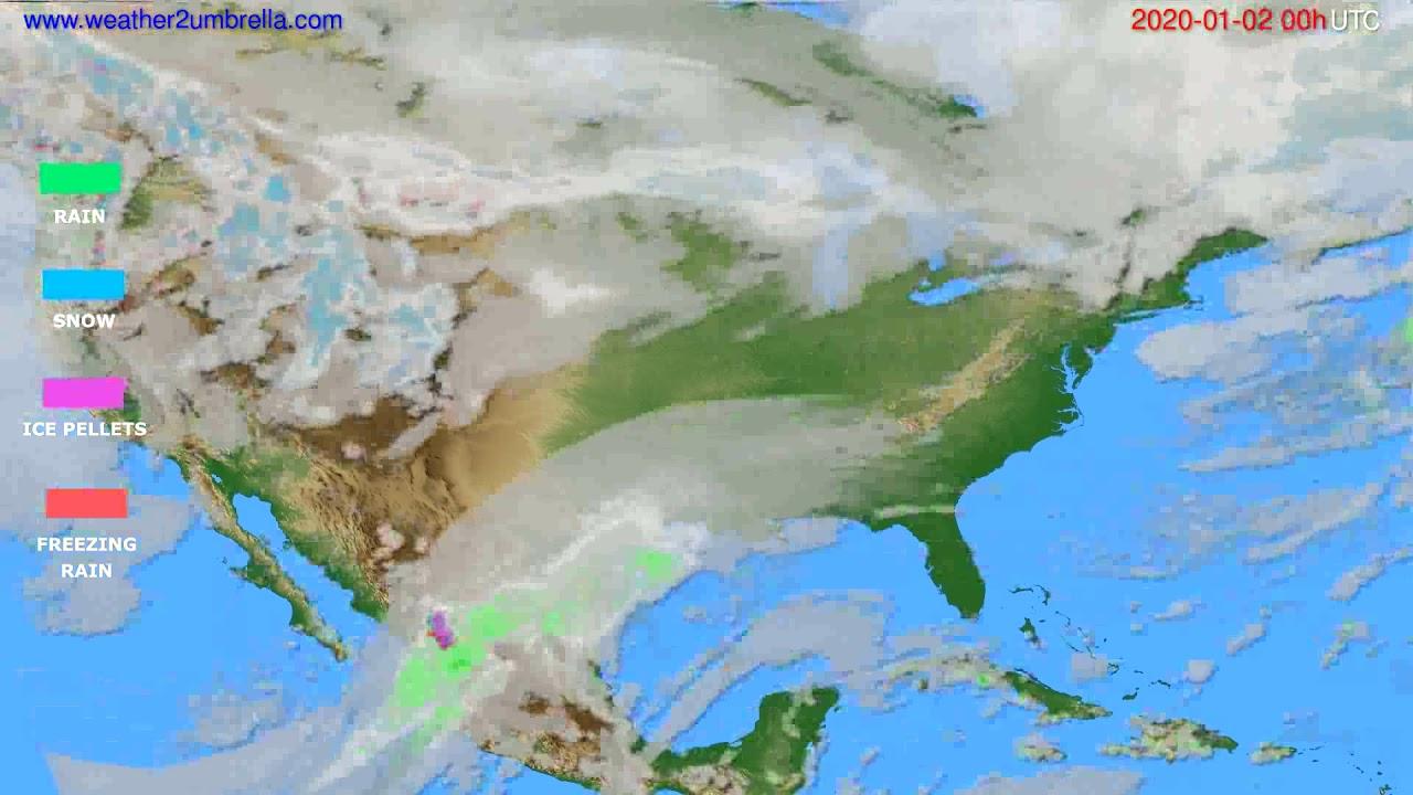 Precipitation forecast USA & Canada // modelrun: 00h UTC 2020-01-01