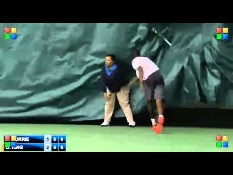 King - Darian King gets disqualified at the Charlottesville Challenger after hitting a lineswoman with his racquet. She goes down quite dramatically. Dive?