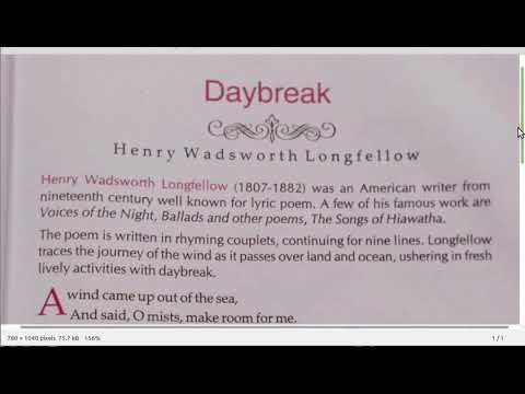Online Class for XI(English) Part-4: Daybreak by H W Longfellow