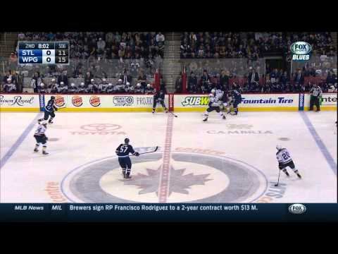 Dustin Byfuglien oblitcherates Patrik Berglund. St. Louis Blues vs Winnipeg Jets Feb 26 2015 NHL