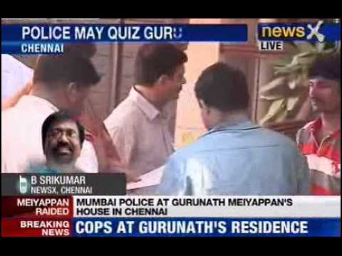 mumbai - NewsX: With the role of BCCI President N Srinivasan's son-in-law now coming to limelight. Mumbai police was today seen at Gurunath Meiyappan's residence in C...