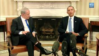 President Obama and Israeli Prime Minister Netanyahu speak to the press after a bilateral meeting in the Oval Office to discuss the progress on final status negotiations with the Palestinians, and developments in Iran, Syria, and elsewhere in the region.