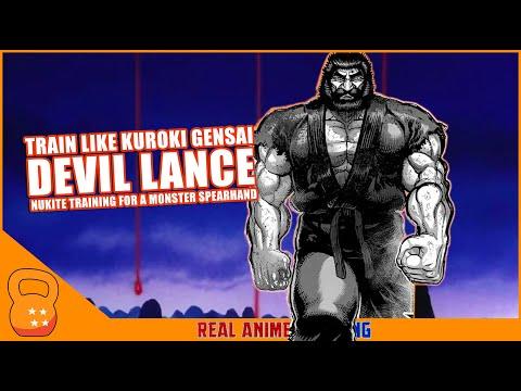 Kuroki Gensai's Devil Lance Training   Real Anime Training
