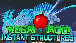 """Minecraft """"INSTANT STRUCTURES"""" MEGA BUILDINGS MOD! (Dragons, Mansions, Vehicles, MORE!) Mod Showcase"""