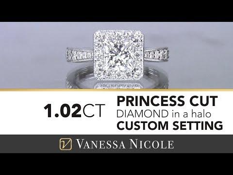 PRINCESS CUT DIAMOND ENGAGEMENT RING |  Princess Cut Halo Engagement Ring for Cynthia