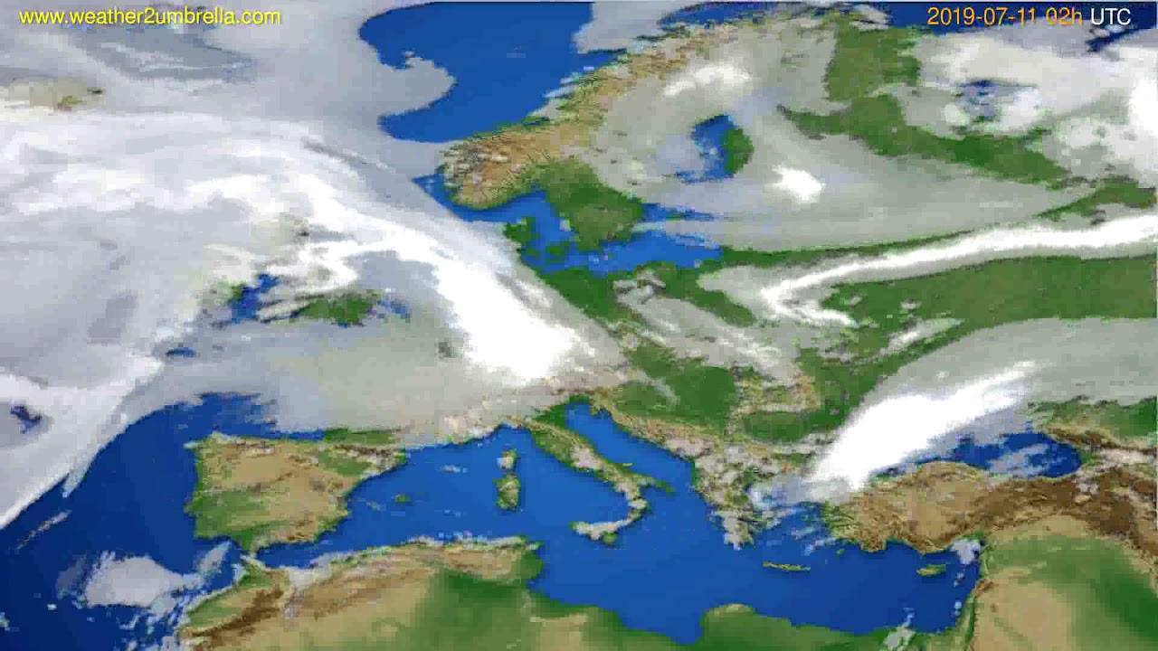 Cloud forecast Europe // modelrun: 00h UTC 2019-07-09