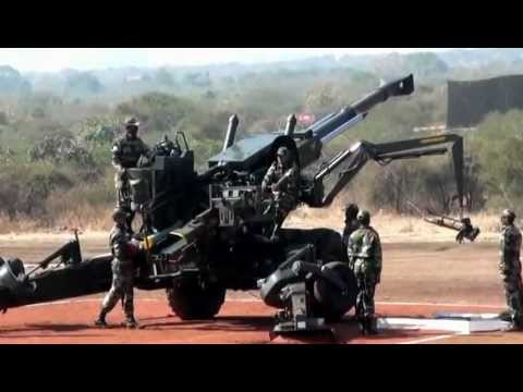 gun - 155mm Field Howitzer 77B. Public demonstration of Bofors guns by Indian Army. This gun is popularly known as Bofors Gun in India due to kickback and its affe...