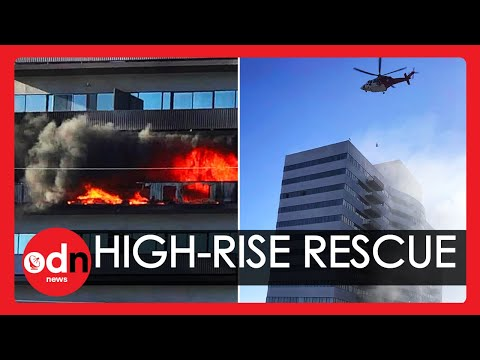 Dramatic Helicopter Rescue as Fire Engulfs High-Rise in Los Angeles