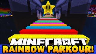 Minecraft RAINBOW SPEED PARKOUR 2! (Extreme Rainbow Road) - w/PrestonPlayz, PeteZahHutt & Kenny!