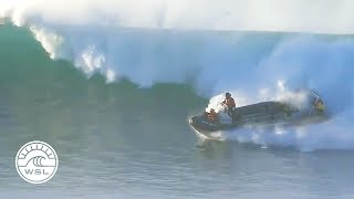 When a huge set wave nearly trapped the safety boat in the impact zone at Jeffreys Bay, they skillfully skirted disaster by ripping...