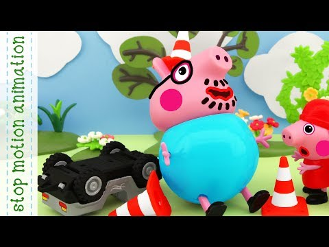 Road Competition Peppa Pig TV toys stop motion animation